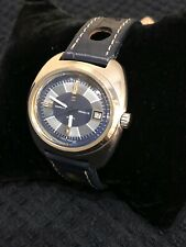 Vintage 1980s Sarcar 38mm Oval Watch w/ Date - Blue & Grey Dial FREE SHIP !!