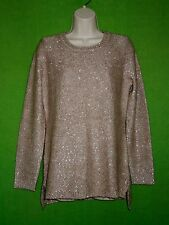 Calvin Klein sweater pullover tunic beige brown sequin long sleeve size S