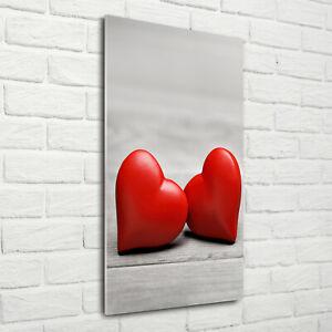 Tulup Acrylic Glass Print Wall Art Image 70x140cm - Hearts on the wood