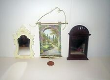Dollhouse Lot MINIATURE TAPESTRY & CARVED MIRROR Accessory Collection
