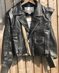 Very Rare Maison Martin Margiela X H & M Leather Biker Jacket XL 12-14