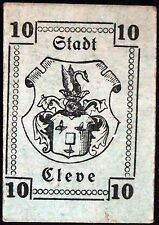 CLEVE 1920 10 Pf small cardboard German Notgeld note Kleve