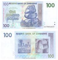 Zimbabwe 100 Dollars 2007 P-69 1st Prefix 'AA' Banknotes UNC