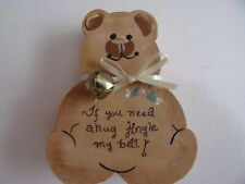 """Teddy Bear - 3.5"""" Wood Cut Out & Painted with Saying and Bell"""