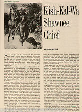 Kish-Kal-Wa Shawnee Indian Chief History by Nono Mino, Author