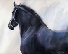 Giclee PRINT Equine Painting Friesian Morgan Black Horse Art watercolor art