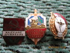 Set of 3 Soviet military badges-aviation mechanics school,coast guard,Estonian