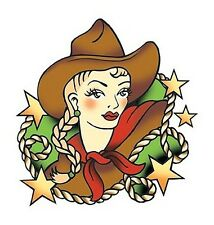 SEXY COWGIRL PINUP GIRL LASSO STARS STICKER/VINYL DECAL Art by Sunny Buick