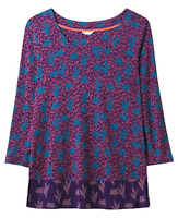 New WHITE STUFF Autumnal Fig Tree Floral Jersey Top Purple Pretty RRP £37.50