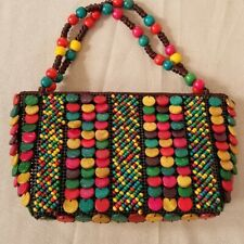 Vintage Beaded Handbag Wood Beads Colorful