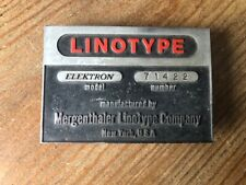 LINOTYPE Trade Mark Old Embossed Sign Industrial Equipment Nameplate Ad