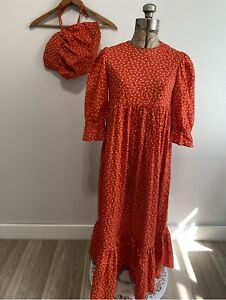 Vintage Pioneer Prairie Dress with bonnet ted callico size S