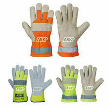 Lorry Driver Gloves - Leather Hi-Vis Haulage Fleece Lined Warehouse Work Glove