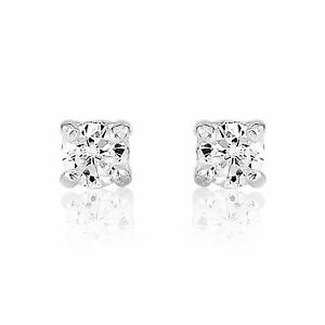Small White Stone CZ Sterling Silver Stud Earrings