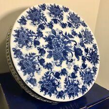 Vintage Cobalt Blue & White Floral Cracker Barrel Cake Stand Plate Porcelain Box