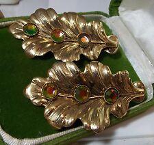Enorme Vintage Dorado Hoja de Roble Sandía Pedrería Pendientes de Clip