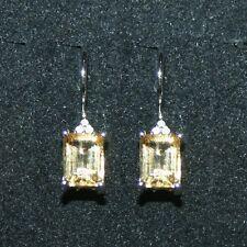 1.75ctw Citrino Amarillo 6 Diamantes Pendientes Largos 14k Blanco Oro sobre 925