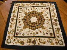Grand Foulard carré de soie décor montres à gousset dans le gout d'Hermès silk