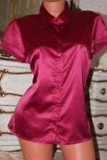 Shiny lightly elasticated faux satin semi fitted top blouse shirt  size 14-16
