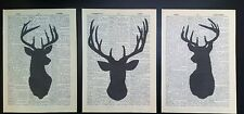 3 X Stag Head Prints 1933 Vintage Dictionary Page Wall Art Picture Deer Upcycled