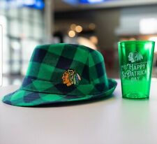 Chicago Blackhawks ST PATRICK'S DAY Fedora Hat and Glass New One size fits most