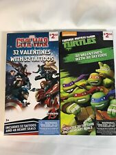 Valentines Day Cards Captain America & TMNT (2 Boxes of 32) With 48 Heart Seals