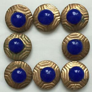 Lot de 8 boutons anciens Art Déco - Laiton et verre bleu roy 20 mm