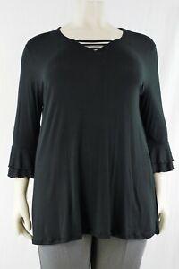 Plain 3/4 sleeve tunic top, detailed V- neck plus sizes 1(4-32)