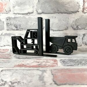 Construction Bookends - 3D Printed - Childrens Bedroom - Digger - Dump Truck