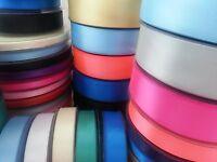 25m/50m Metres Double Faced Satin Ribbon Reels 6mm 10mm 15mm 25mm plastic spool