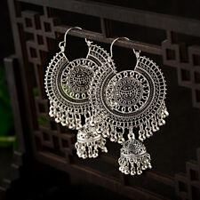 Retro Women Big Round Bell Gold Silver Bead Jhumka Indian Tassel Carved Earrings