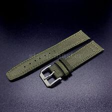 21mm vert toile bracelet en cuir + tongue à boucle pour IWC pilote portugais watch