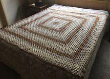 "Handmade Afghan Crochet Granny Square Tan Ivory Gray 66"" x 66"" Blanket Throw"