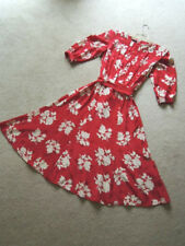 Ladies Dress Size 12 Swing Style Off White Floral on Cherry Red $160 Value NWOT