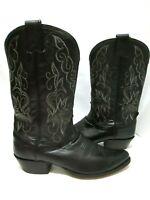 OLATHE BOOT CO. Genuine MEN'S Black Premium Leather CLASSIC WESTERN BOOT ~ 9 D