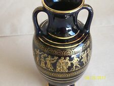 "BEAUTIFUL SMALL (6"" tall) VASE HAND MADE IN GREECE 24k GOLD TRIM"