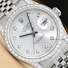 MENS ROLEX DATEJUST DIAMOND BEZEL, DIAL, & LUGS 18K WHITE GOLD/STEEL WATCH