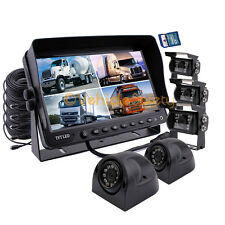 """5 x BACKUP CAMERAS 9"""" QUAD MONITOR WITH DVR SAFETY SYSTEM FOR TRUCK TRAILER RV"""