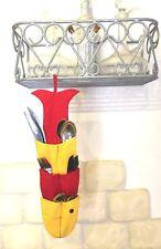 Kitchen Door Range Cutlery Fabric Fish 12 Pockets Red Yellow Cotton Washable