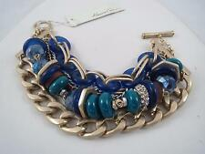 Kenneth Cole gold tone blue/green/brown beaded wide bracelet, NWT