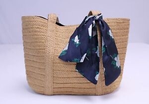 Draper James Women's Everyday Straw Bag with Floral Scarf DG4 Brown Large NWT