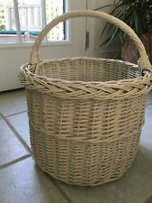 Large White Wicker round basket 11 inches tall by 13.5 inches diameter