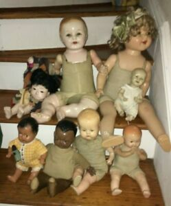 LOT of ANTIQUE COMPOSITION tlc Dolls