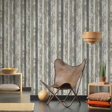 NARROW WOOD PLANKS WALLPAPER GREY - AS CREATION 959142 TEXTURED NEW