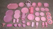 BARBIE KEN DOLL HOUSE KITCHEN DINING - 37pc SET of PINK DISHES