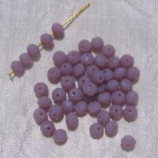 50 Perles Facettes 6mmx4mm Rondelles Cristal MAUVE VIOLINE Verre Taillé VT4.12