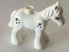 *NEW* Lego DUPLO Animal WHITE HORSE FOAL with BLUISH DARK GRAY SPOTS