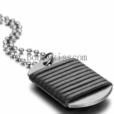Army Military Dog Tag Men's Braided Leather Pendant Necklace Bead Ball Chain
