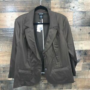 New Lane Bryant Women's Brown Two Button Cotton Blend Blazer Jacket Size 26