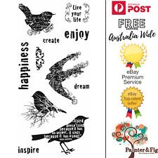 Fiskars Birds STAMPS - Swallows Blackbird Dream Inspire Happiness Create
